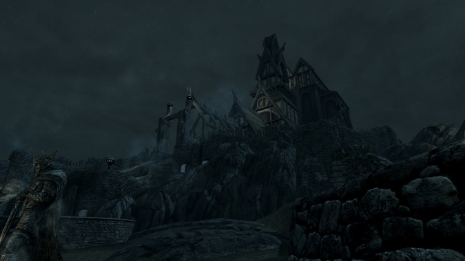 Skyrim at night and not a very good example of anything. Except night.