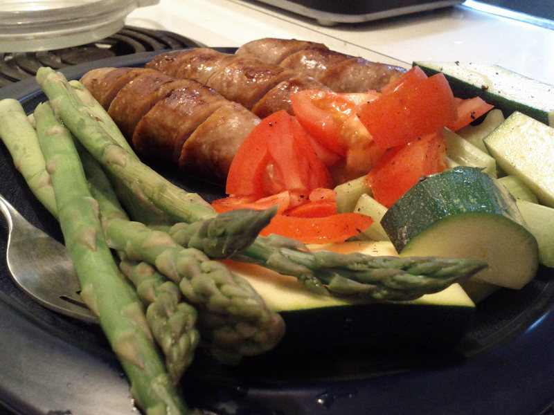primal dinner sausage raw vegetables asparagus